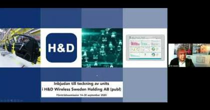 Embedded thumbnail for H&D Wireless - Aktiedagen digitalt 21 september 2020