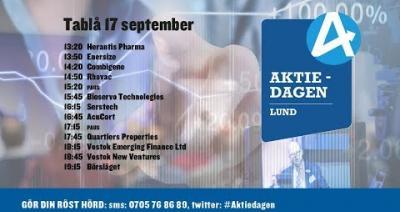 Embedded thumbnail for Följ Aktiedagen Lund 17 september live