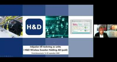 Embedded thumbnail for H&D Wireless - Aktiedagen digitalt 21 september 2020