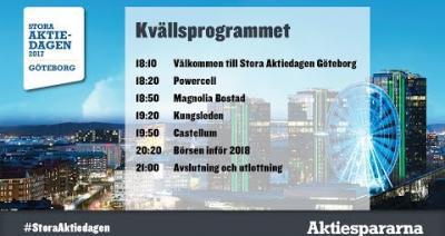 Embedded thumbnail for Följ kvällsprogrammet på Stora Aktiedagen Göteborg